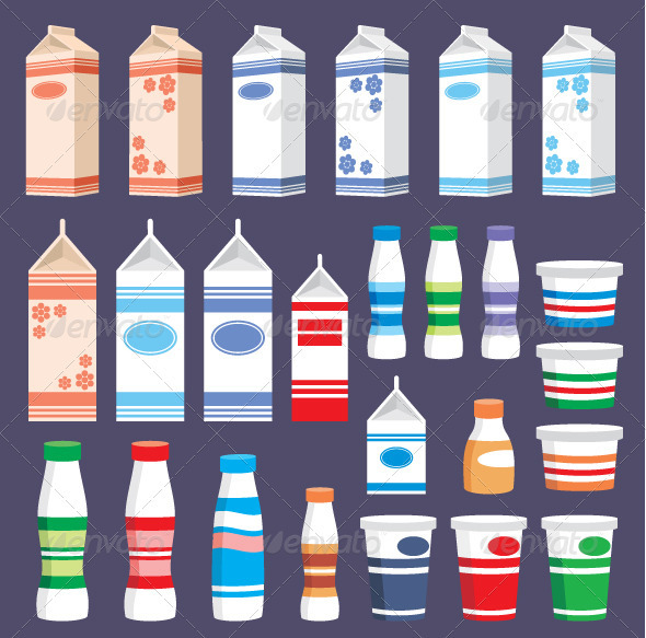 Set of Dairy Products - Food Objects