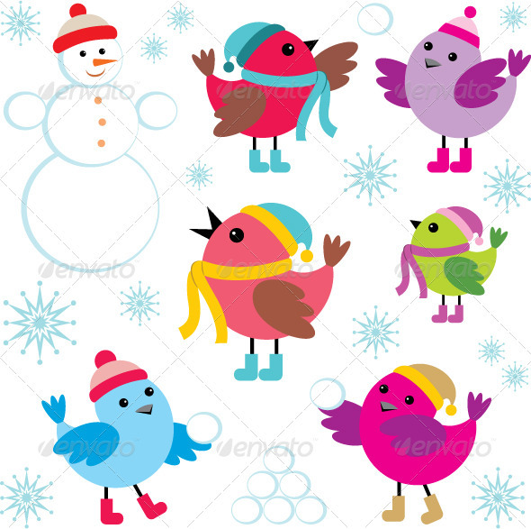 Set of Winter Birds and Snowman - Seasons/Holidays Conceptual