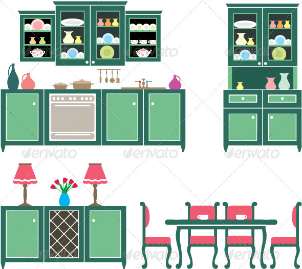 Set of Kitchen Furniture - Man-made Objects Objects