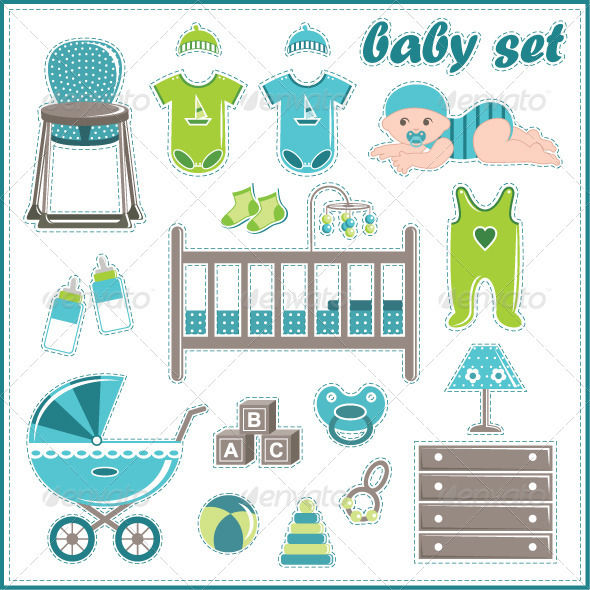 Scrapbook Elements with Baby Boy Elements - Man-made Objects Objects
