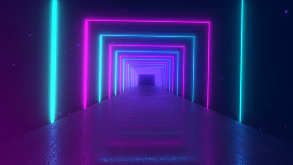 Abstract Motion Geometric Background Glowing Neon Squares