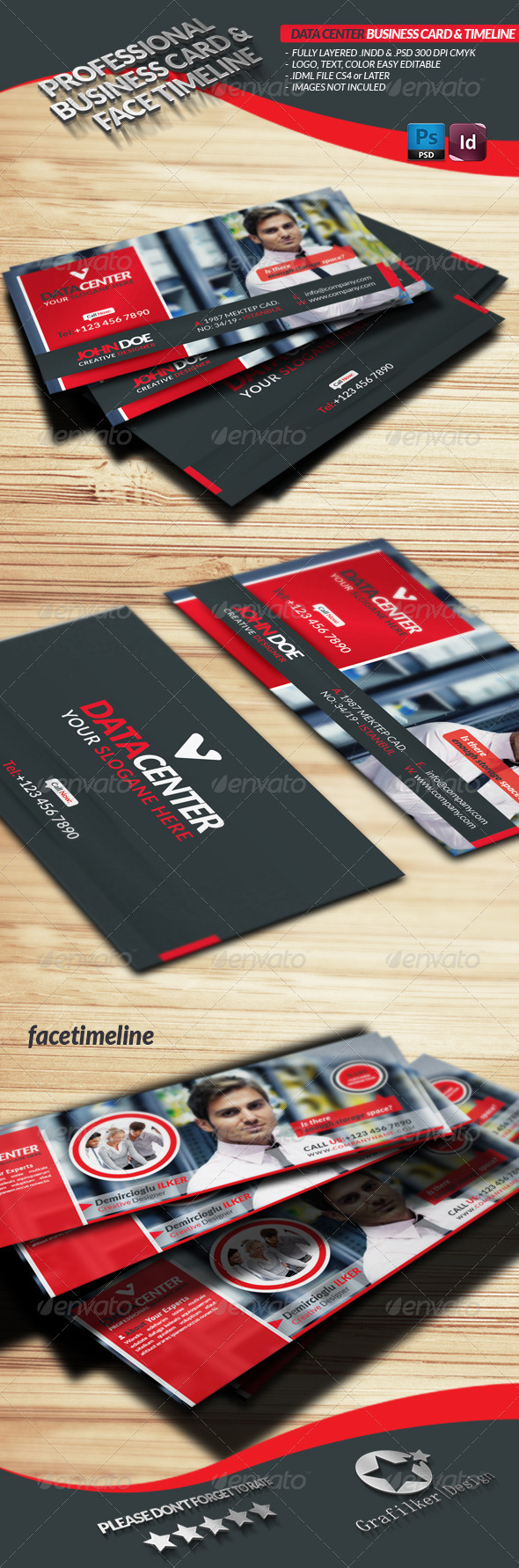 Data Center Business Card  Face-Timeline - Industry Specific Business Cards
