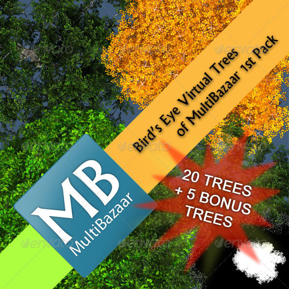 Multibazaar Bird's Eye Virtual Trees 1st Pack - 3DOcean Item for Sale