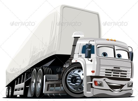 Vector Cartoon Semi Truck - Miscellaneous Characters
