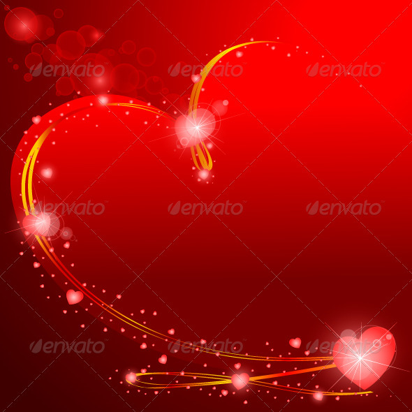 Valentines Background Glowing Hearts - Valentines Seasons/Holidays