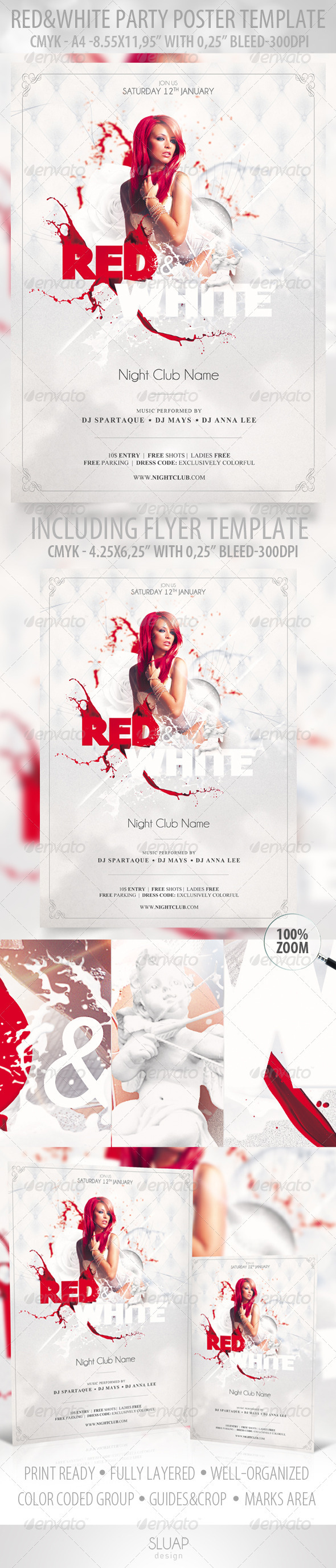 Red & White - Poster Template & Red & White - Flye - Clubs & Parties Events