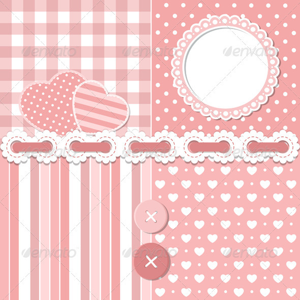 Pink Scrapbook Set - Decorative Symbols Decorative