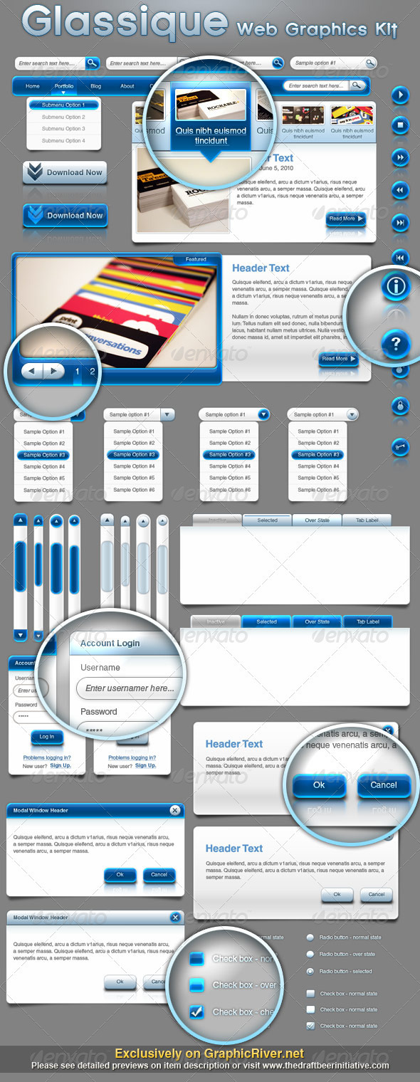 Glassique Bleu Web Graphics Kit - User Interfaces Web Elements