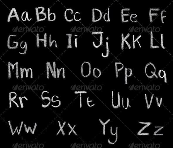 grunge alphabet written by chalk - Stock Photo - Images