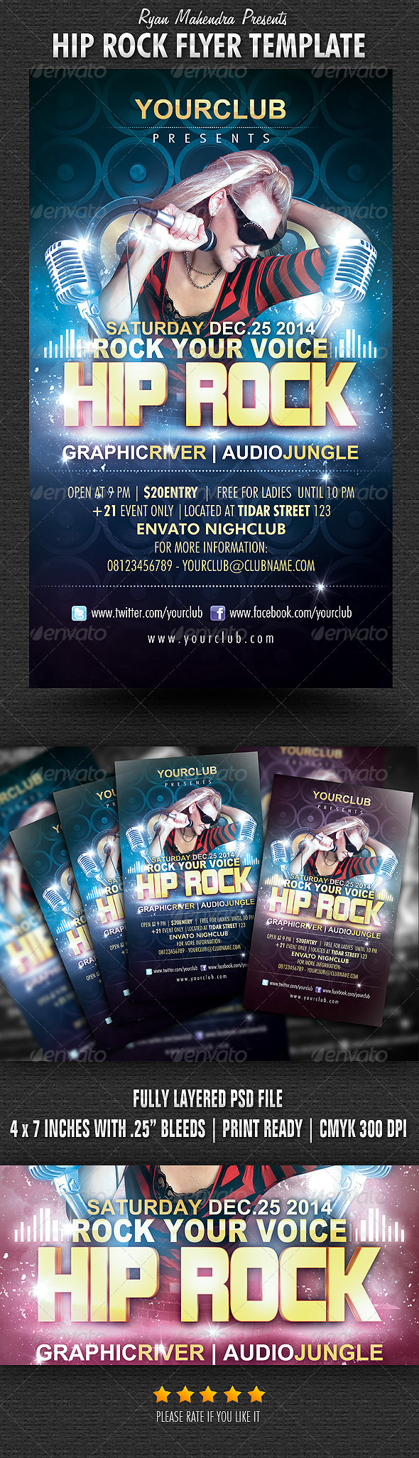 Hip Rock Flyer Template - Flyers Print Templates