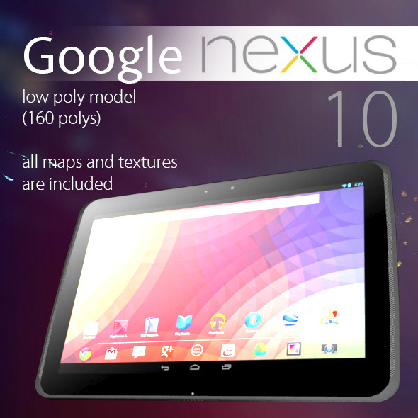 Google Nexus 10 Low Poly - 3DOcean Item for Sale