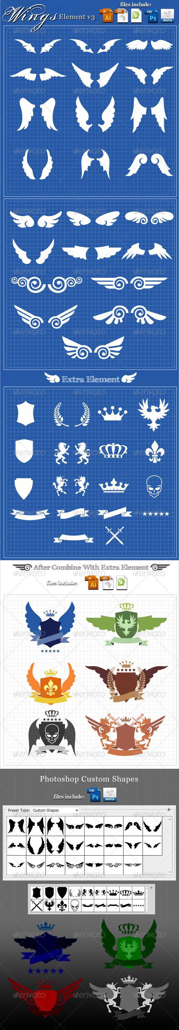 23 Wings Element v3 - Decorative Symbols Decorative