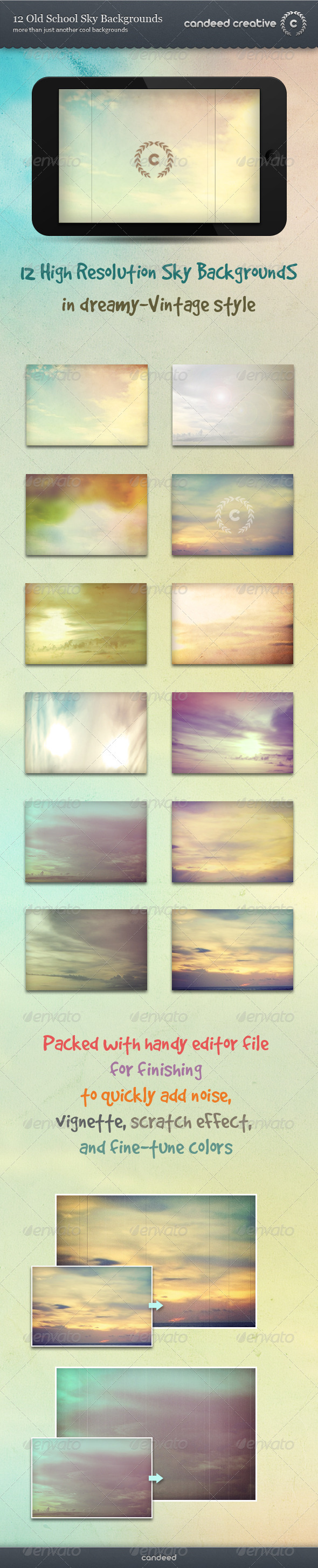 12 Old School Sky Backgrounds - Backgrounds Graphics