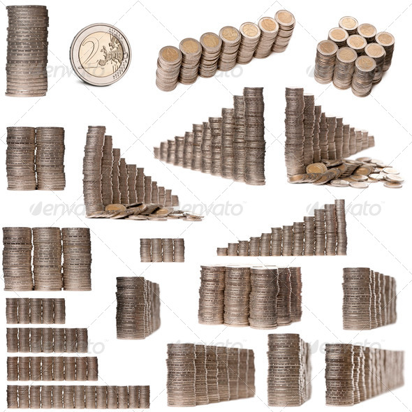 Collage of stacks of 2 Euros Coins in front of white background - Stock Photo - Images