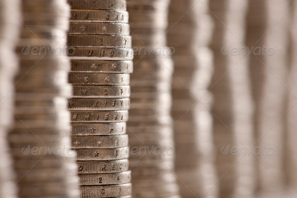 Close-up stacks of 2 Euros Coins - Stock Photo - Images