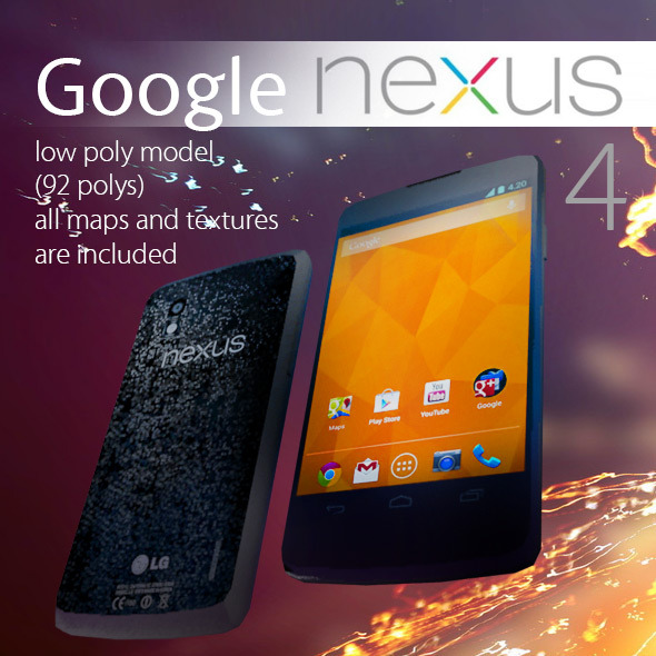 Smartphone Google Nexus 4 Low Poly - 3DOcean Item for Sale