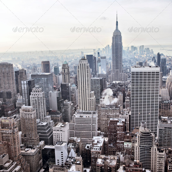 New York City skyline view from Rockefeller Center, New York, USA - Stock Photo - Images
