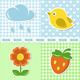 Summer Icons On Textile Backgrounds - GraphicRiver Item for Sale