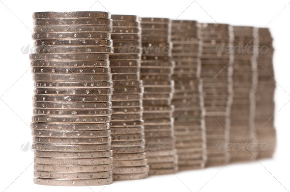 Stacks of 2 Euros Coins in front of white background - Stock Photo - Images