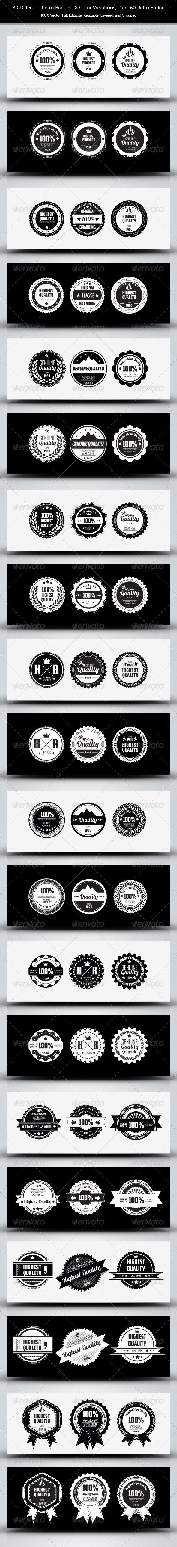30 Genuine Quality - Retro Badges - Web Elements Vectors