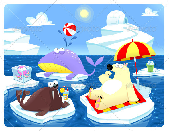 Summer or Winter at the North Pole - Animals Characters