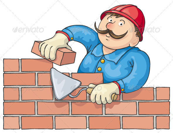 Bricklayer At Work - People Characters