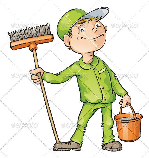 Cleaner Holding a Brush and Bucket - People Characters