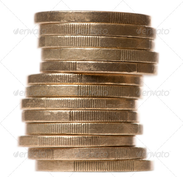 Stack of 2 Euros Coins in front of white background - Stock Photo - Images