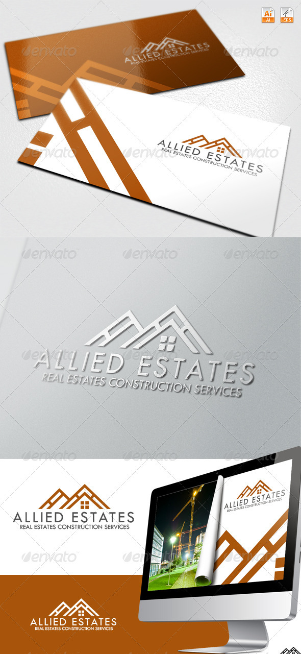 Allied Estates - Real Estate Construction Logo - Buildings Logo Templates
