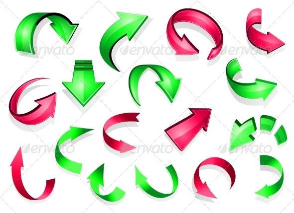 Glossy Arrow Icons - Decorative Symbols Decorative