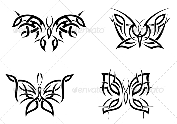 Butterfly Tattoos - Tattoos Vectors