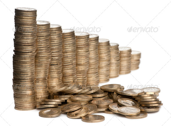 Stacks of 1 Euros Coins in front of white background - Stock Photo - Images