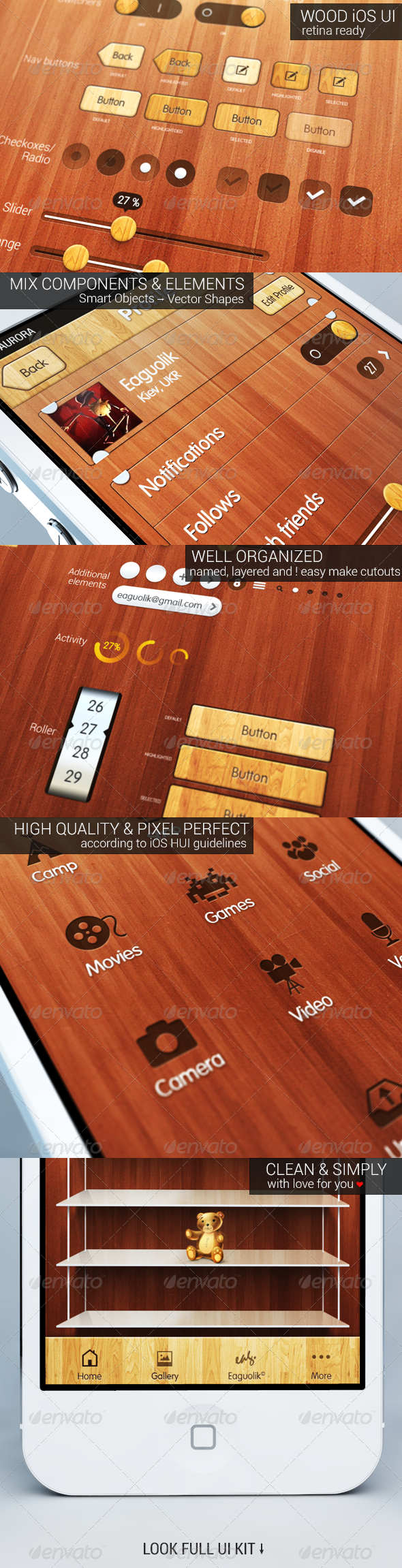 iOS Wood UI Kit - User Interfaces Web Elements