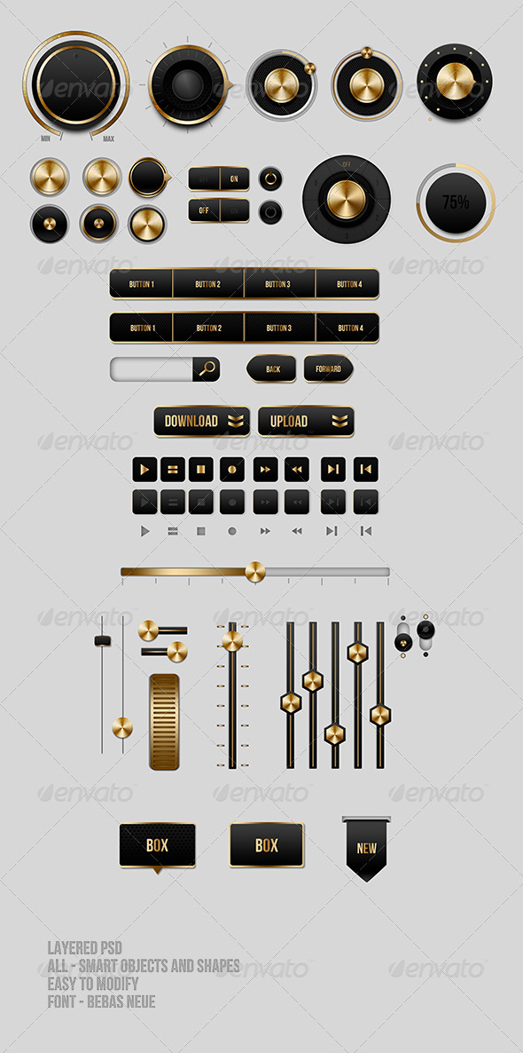 Black and Gold UI Buttons - User Interfaces Web Elements