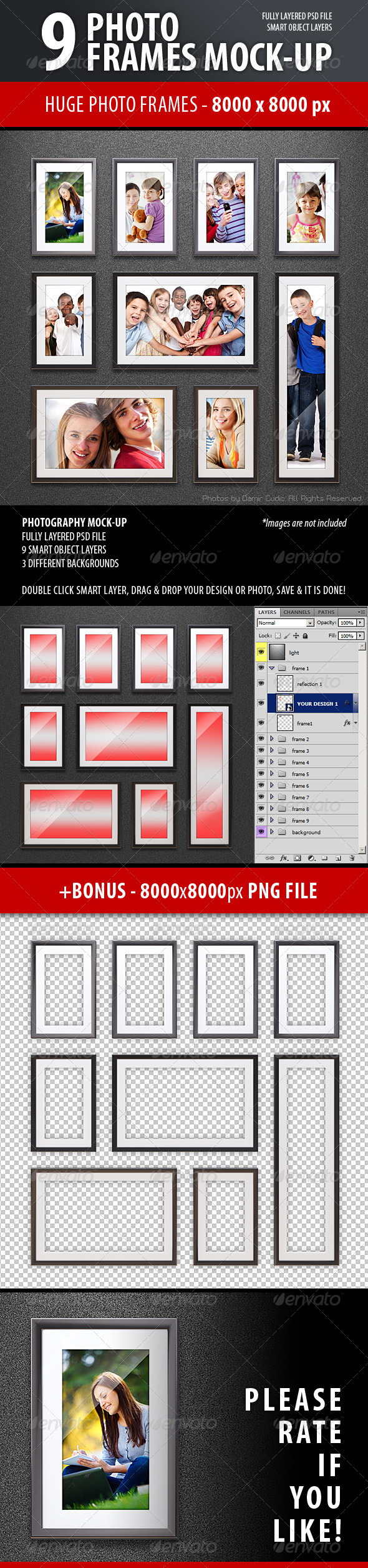 Photo Frames Mock-up - Photo Templates Graphics