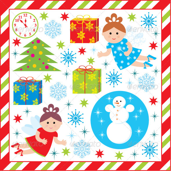 Scrapbook Elements with Christmas and New Year - Christmas Seasons/Holidays