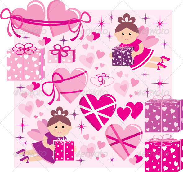 Scrapbook Elements with Hearts and Fairies - Valentines Seasons/Holidays