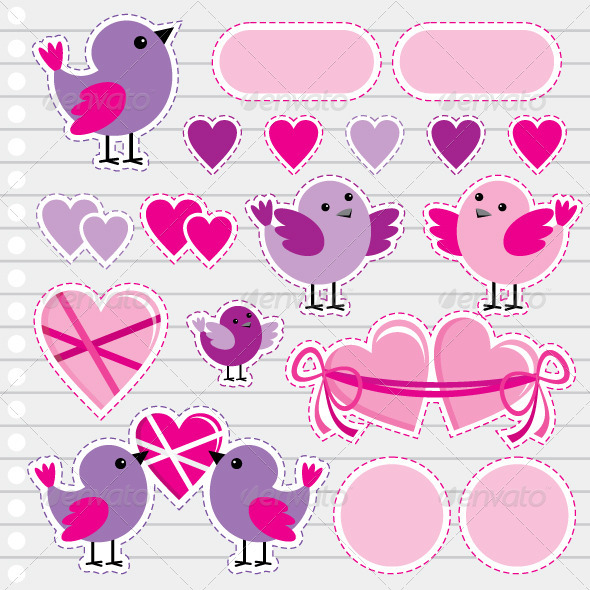 Scrapbook Elements with Hearts and Birds - Valentines Seasons/Holidays