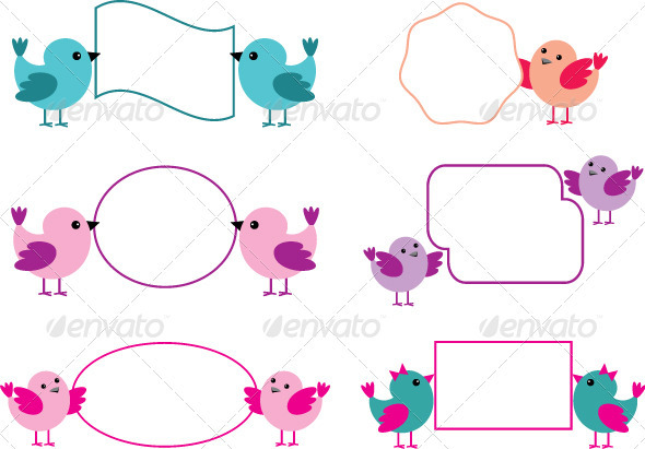 Little Birds Holding Paper Forms - Decorative Symbols Decorative