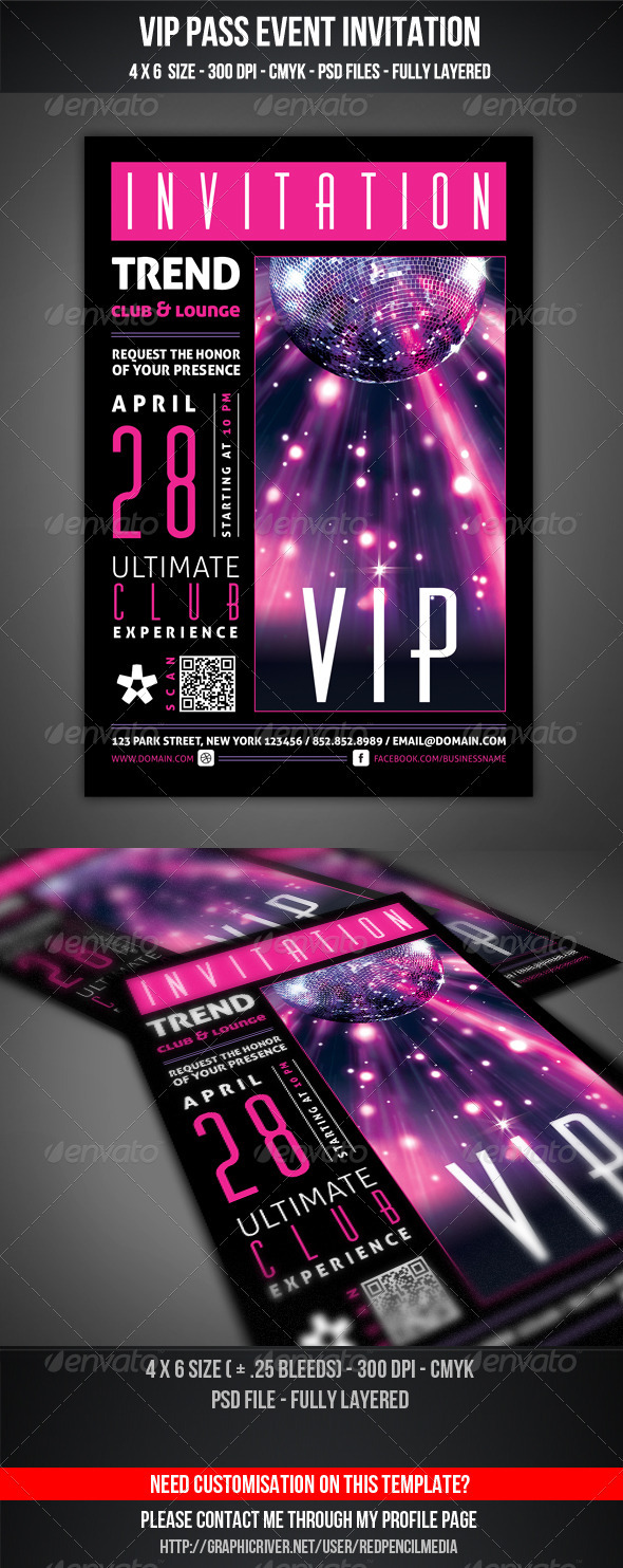VIP Club Event Invitation - Cards & Invites Print Templates