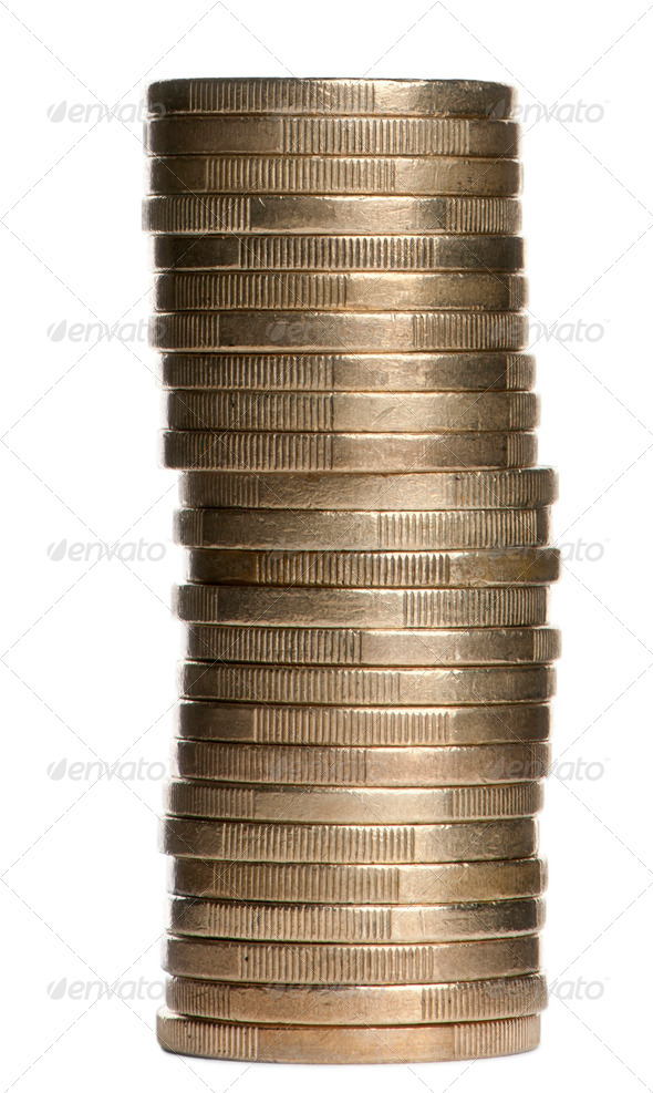 Stack of 1 Euros Coins in front of white background - Stock Photo - Images