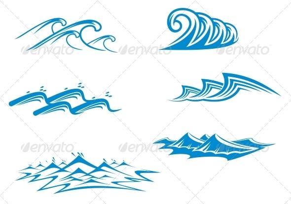 Set of Wave Symbols - Decorative Symbols Decorative