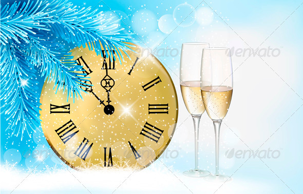 Holiday Blue Background with Champagne Glasses - Backgrounds Decorative