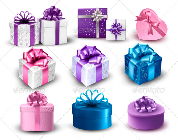 Set of Colorful Gift Boxes with Bows and Ribbons - Man-made Objects Objects