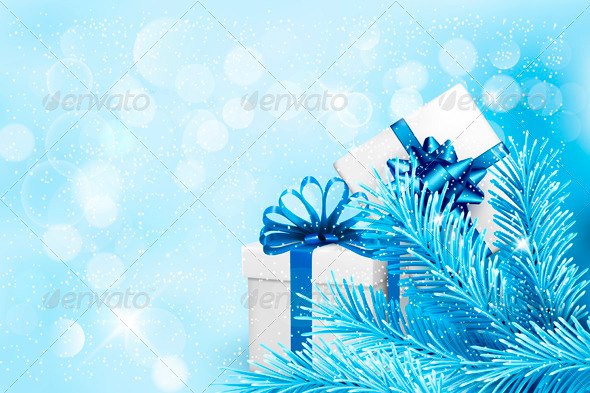 Holiday Blue Background with Gift Boxes - Christmas Seasons/Holidays