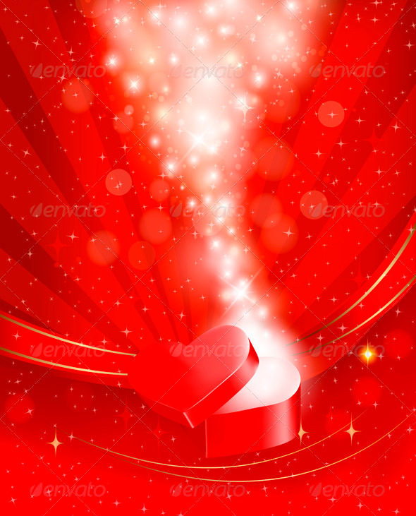 Valentines Day Background with Open Red Gift Box - Valentines Seasons/Holidays
