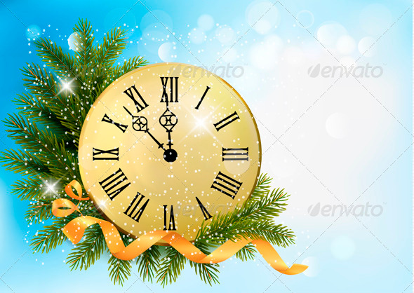 Holiday Background with Tree Branches and Clock - New Year Seasons/Holidays