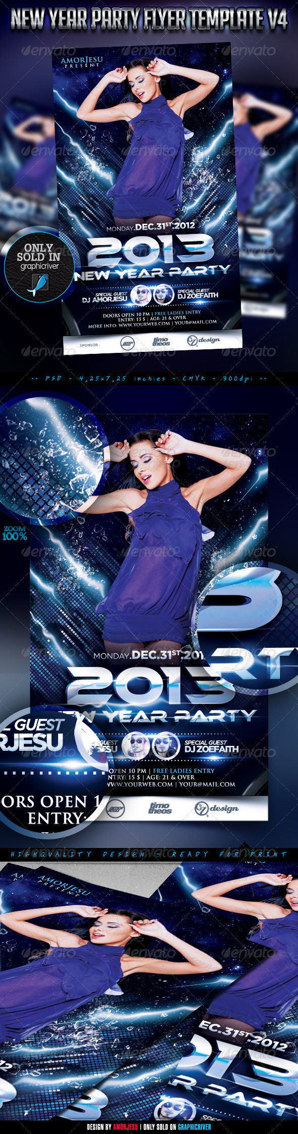 New Year Party Flyer Template V4 - Clubs & Parties Events