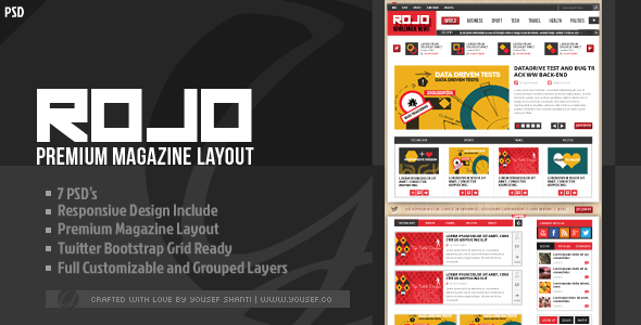 ROJO | Magazine/News PSD Template - Miscellaneous PSD Templates