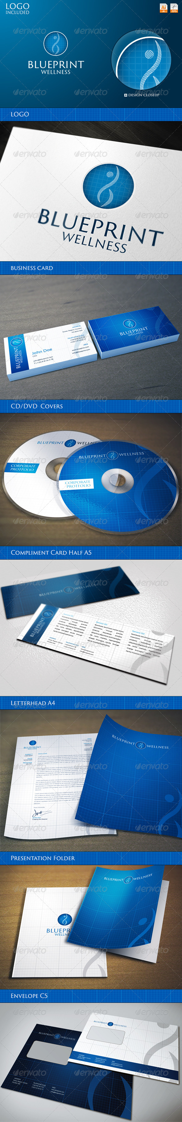 Corporate Identity - BluePrint Wellness - Stationery Print Templates